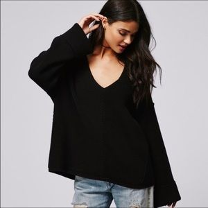 Free People La Brea V-Neck Sweater in Black